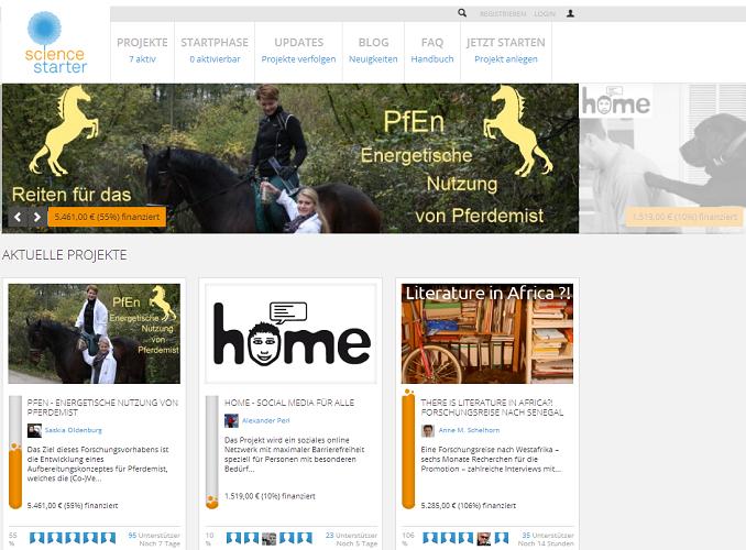 Startseite von sciencestarter.de, der Crowdfunding-Plattform für Wissenschaft
