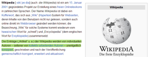 Der Wikipedia-Eintrag ber die Wikpedia