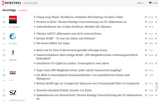 Screenshot des News-Aggregators Newstral.