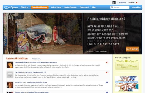 Die Übersichtsseite der Jugend-Partizipationsplattform http://www.joinourspace.eu