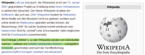 Der Wikipedia-Eintrag über die Wikpedia